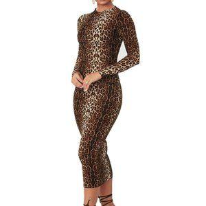Women's Long Sleeve High Neck Midi Bodycon Dress